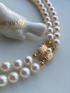 专串双层珍珠项链链扣(14k金)  http://www.iseya-japan.com