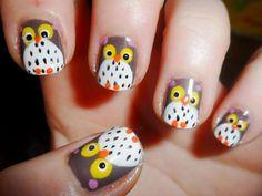 Owl nails. Too cute!