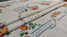 Handmade Rectangular Embroidered Tablecloth, Linen, Vintage 70s, 136x176cm/53.5x69.3in Linen Tablecloth, Tablecloths, Vintage 70s, Etsy Vintage, Basic Colors, Colours, Blanket Stitch, White Fabrics, Cross Stitch Embroidery