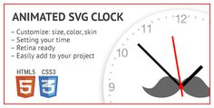 Purchase $5.00Analog clock for your project or site team. It is possible to change the appearance (color, size), add a unique design. Ready for retina displays. Easily integrated into the project. The