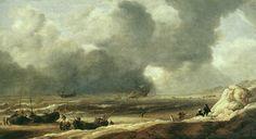 Jan Porcellis - Strandgezicht in de buurt van Scheveningen met een schipbreuk