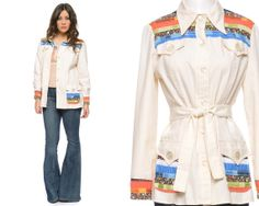 Patchwork Jacket 70s Cream Quilted Floral by GravelGhostVintage, $52.00