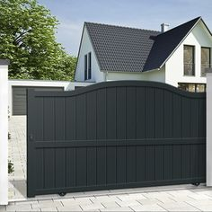 Aluminium wicket sliding gate EMALU GIVERNY plain boarded straight top right opening. Home Gate Design, House Main Gates Design, Steel Gate Design, Front Gate Design, Fence Design, Door Design, House Front Gate, Front Gates, Entrance Gates