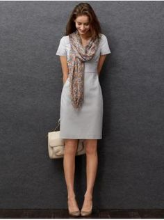 A shift dress in a feminine cut and an adorable scarf... Banana Republic can do no wrong.  This will make your boring Tuesday a little more bearable.