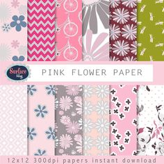 Floral digital paper PINK FLOWER hand drawn floral paper, Mothers Day paper bicycle paper, Pink Chevron, digital paper girl, pink paper #handmade #pattern
