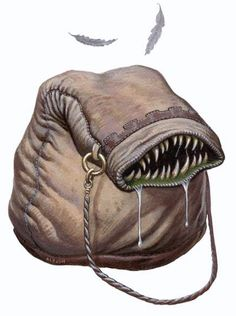 Bag of Devouring frequently thought of as a (cursed) magical item, a bag of devouring is in fact a creature, albeit one living in another dimension, whose mouth just happens to coincide the bag's opening.