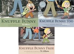 Knuffle Bunny, Knuffle Bunny Too, Knuffle Bunny Free - Mo Willems (yes, it is pinned twice because it is great for kids and adults may get emotional too!)