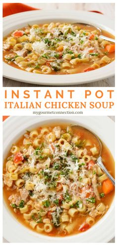 Instant Pot Italian Chicken Soup With the all comforting goodness of classic chicken noodle soup, this recipe for Instant Pot Italian Chicken Soup uses some added ingredients to make a healthy and satisfying one-dish dinner with a delicious Italian flair. Instant Pot Dinner Recipes, Healthy Soup Recipes, Good Soup Recipes, Pasta Recipes, Keto Recipes, Pressure Cooker Recipes, Slow Cooker, Pressure Cooker Chicken Soup, Italian Chicken Soup