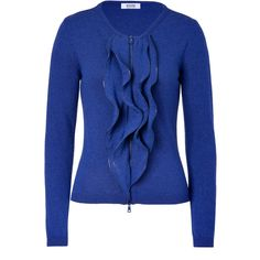 MOSCHINO C Blue Ruffled Cardigan ($490) ❤ liked on Polyvore