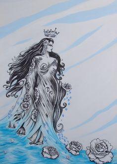 Iemanja Orishas Yoruba, Underwater Art, Caribbean Art, Mermaids And Mermen, Mermaid Art, Colorful Paintings, Inked Girls, Mythology, Art Drawings