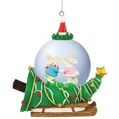 WL SSWL93967 Christmas Holiday Ceramic Snow Bunnies on Tree Ornament 45mm >>> Want additional info? Click on the image.