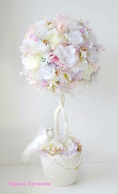 Tulle Crafts, Flower Crafts, Diy Flowers, Diy And Crafts, Floating Tea Cup, Topiary Centerpieces, Rose Trees, Topiary Trees, Flower Boxes