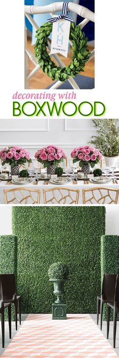 Decorating with Boxwood Flower Centerpieces, Wedding Centerpieces, Wedding Decorations, Table Decorations, Boxwood Garland, Wedding Flowers, Wedding Day, Dinner Parties, Garden Parties