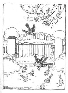 bird on garden gate in winter find this pin and more on christmas in black white - Christmas In Black And White