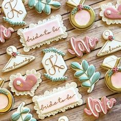 Find some good ideas for bridal shower cookies and wedding cookies to use for your wedding. Some good options for fall weddings, spring weddings and summer weddings! Elegant cookies as well as rustic cookie themes. Wedding and bridal shower cookies can be a great favor or decoration. Wedding Shower Cookies, Baby Shower Cookies, Iced Sugar Cookies, Royal Icing Cookies, Bachelorette Cookies, Elegant Cookies, Engagement Cookies, Anniversary Cookies, Monogram Cookies