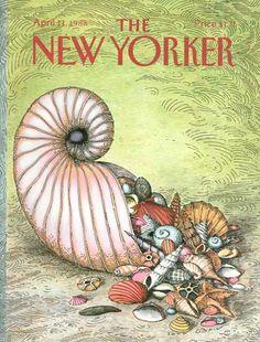 New Yorker Magazine Cover April 11 1988 A Nautilus Shell The New Yorker, New Yorker Covers, Ancient Egyptian Art, Ancient Aliens, Ancient Greece, Ancient History, Chrysler New Yorker, Magazine Art, Magazine Covers