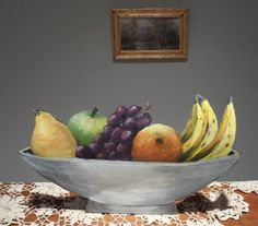 Trompe l'oeil fruit bowl, acrylic on roofing paper. Serving Bowls, Decorative Bowls, Fruit, Paper, Tableware, Dinnerware, Tablewares, Dishes, Place Settings