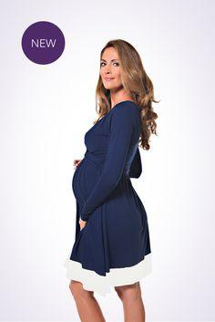 The NEW Lonzi&Bean UltiMum maternity and breastfeeding dress in Navy-Vanilla Breastfeeding Dress, Maternity Nursing Dress, Bra Sizes, Vanilla, Pregnancy, Navy, Long Sleeve, Color, Beauty