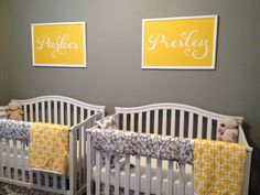 Yellow and Gray Nursery- Great idea for twins!! Poppy 4-pc Set from Liz and Roo