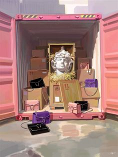 """""""Reminiscent of port containers and trucks full of fake bags. Somehow one of these trucks made it to the Gucci parking lot, and among these Dionysus bags, Dionysus himself"""""""