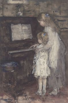 Two Girls, Daughters of the Artist at the Piano by Jacob Maris on Curiator, the world's biggest collaborative art collection. Piano Art, The Piano, Piano Music, Music Pics, Music Pictures, Illustration Photo, Illustrations, Dutch Painters, Oil Painting Reproductions