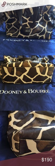 """Dooney & Bourke Chiara Giraffe Print Tote Gently used tote. Can be gathered for a slightly different look. No marks on lining. Some scuffs on the bottom corner. No marks on handles. 14"""" wide 5"""" deep 12"""" tall 8"""" handle drop. Comes with dust bag Dooney & Bourke Bags Totes"""
