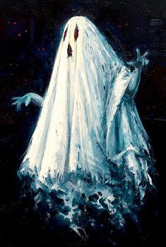 Autumn Heart, Halloween Spirit — Bed Sheet Ghost by IsidorSwande Halloween Artwork, Halloween Painting, Halloween Pictures, Halloween Wallpaper, Paranormal, Samhain, Illustrations, Illustration Art, Halloween Illustration