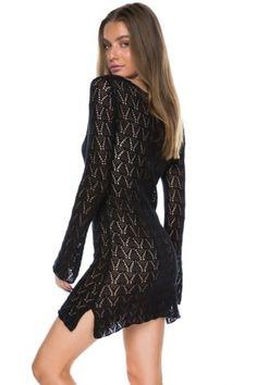 cc8d3cf9ca (US  9.78) Black Crochet Tunic Beach Dress Crochet Tunic