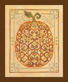 Instant Download.PDF Pattern Ornamental Pumpkin.Halloween Cross Stitch by TurquoiseGraphics