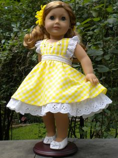 Yellow sundress for 18 dolls or American Girl by mydollyscloset1