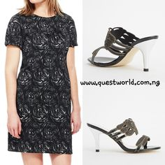 Black Floral Jacquard Dress size 12 14 #9000  Black encrusted open toe heels size 40 #7500  FREE DELIVERY  www.questworld.com.ng  www.konga.com/QUEST-WORLD-BOUTIQUE  📲08025462685