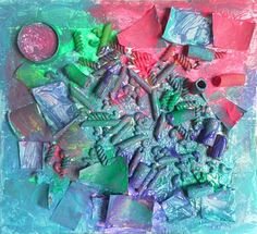 Art that Pops!  gluing down cardboard pieces and raw pasta, then painting