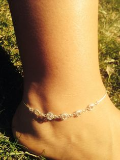 Vintage inspired crystal sterling silver anklet/ by aprilsunrises Sterling Silver Anklet, Silver Anklets, Faceted Crystal, Swarovski Crystals, Ankle Chain, Ankle Bracelets, Vintage Inspired, Jewlery, Fashion Jewelry