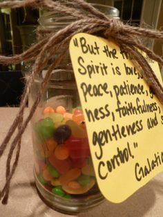 "Fruit Of The Spirit Jar: A Summer rewards system for good behavior.     ""But the fruit of the Spirit is love, joy, peace, patience, kindness, goodness, faithfulness, gentleness and self-control."" Galatians 5:22"