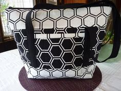 Handcrafted Black and White Large Fabric Shoulder