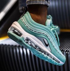 Nike Air Max 97 SE GS tropical Twist Teal Tint BlackYou can find Nike air max and more on our website. Moda Sneakers, Cute Sneakers, Sneakers Nike, Black Sneakers, Running Sneakers, Black Shoes, Running Shoes, Tennis Sneakers, Souliers Nike