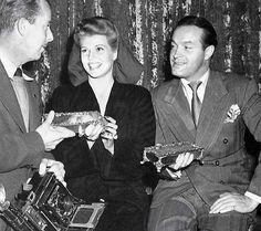Rita Hayworth candid with Bob Hope