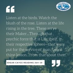 Listen at the birds. Watch the blush of the rose. Listen at the life rising in the tree. These serve their Maker...Through that psychic force that is Life itself, in their respective sphere—that were put for the service of man. Learn thine lesson...from that about thee! #EdgarCayce reading 364-10 (http://EdgarCayce.org)