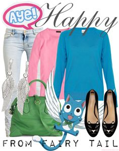 Casual cosplay Happy from Fairy Tail by layering a pink shirt underneath a blue sweater. Add wing earrings, a green bag, and  velvet kitty slippers.
