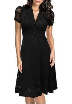 Vintage Style V-Neck Short Sleeve Black Lace Women's Dress