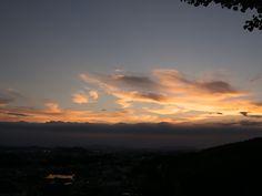 須恵町皿山公園から見る福岡市の夕陽