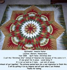 Prairie Star ~ Quiltworx.com, made by Annette Parker