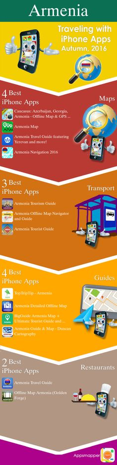 Armenia iPhone apps: Travel Guides, Maps, Transportation, Biking, Museums, Parking, Sport and apps for Students.
