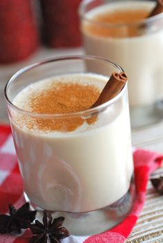 Coquito (Puerto Rican Coconut Eggnog), from Always Order Dessert. Has evaporated milk, sweetened condensed milk, coconut cream, rum, vanilla extract, cinnamon, vanilla bean. Blender. Let chill in fridge at least 2 hours before serving.