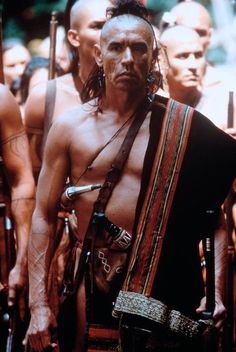 "Wes Studi in ""The Last of the Mohicans"" ●●fuzz sez: Several of my RevWar and F&i cohorts were extras for this film. They brought their regalia. Best movie I've seen for non-farby accoutrements and clothing. ●●"