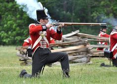 This British regular is ready to fire from an open position.  Battle of Stoney Creek.