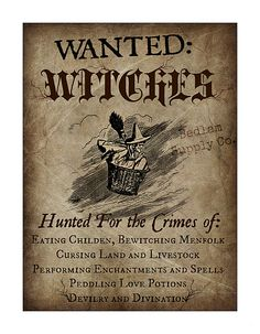 Witch Hunters Notice by BedlamSupplyCo on Etsy