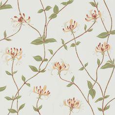 Vårt klassiska mönster Elizabeth är ett limtryckt botaniskt mönster där kaprifolen slingrar sig gracilt över ytan. Mönstret blir mycket spännande på större ytor där kaprifolens yviga växtsätt verkligen kommer fram.