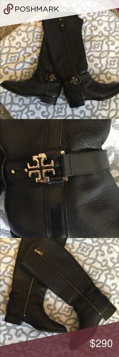 """Tory Burch Elina Riding Boots Black 10 Pebble leather harness strap with signature double T logo side zip 1 3/8"""" stack heel  16.5 shaft boot height  15"""" circumference  Elina made in Brazil size 10 Excellent clean condition no defects or wear  $495 Tory Burch Shoes Heeled Boots"""