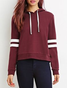 *Trendy Hooded Long Sleeve Color Spliced Women's Drawstring Hoodie